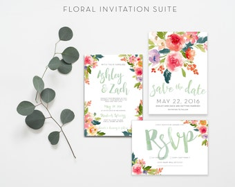 Floral wedding invitation suite watercolor wedding invitations custom invitation