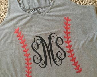 Monogram baseball Bella tank with seams
