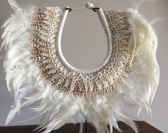 Tribal White Feather Shell necklace with stand - NOVA