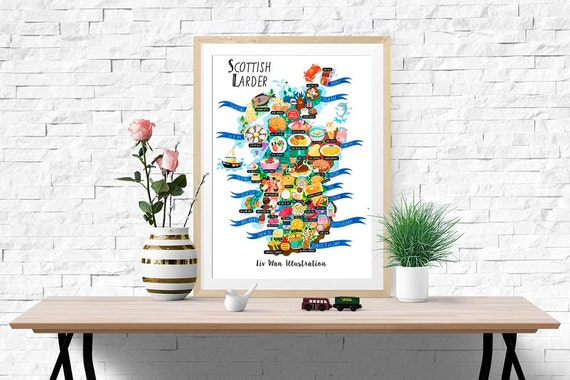 Scotland Food Map Illustration (UK shipping inclusive) (15% this January/February, use code JAN17SALE15)