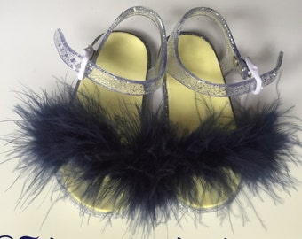 Navy kiddies fluffy sandals