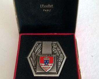 Hexagonal Vintage Medal, Olympic Rings On Shield  by E. Bouillot, Paris Choisy-Le-Roi