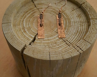 Copper Rectangle and Arrow Earrings
