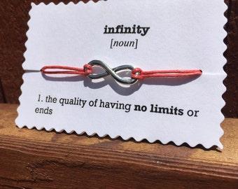 Coral cord infinity bracelet adjustable bracelet cord bracelet stackable bracelet gift for her friendship bracelet summer jewelry