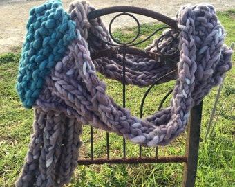 Grey Scarf (Turquoise Detail)