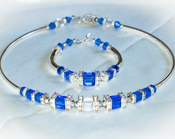 Austrian Crystal Necklace and Matching Bracelet Set – Sapphire Blue