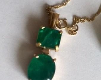 Two stone Emerald Pendant