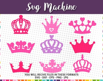 Crown svg - Princess Crown svg - crown clipart - svg png dxf eps  jpg - Silhouette Cut Files - digital cutting file for cutting machines