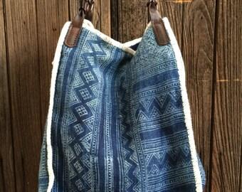 Vintage Indigo Handbag Tote. Box-style. Small.
