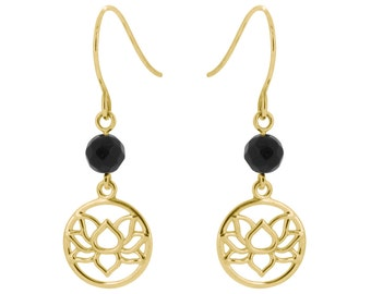 9ct Yellow Lotus Flower Earrings Set With 2 4mm Onyx