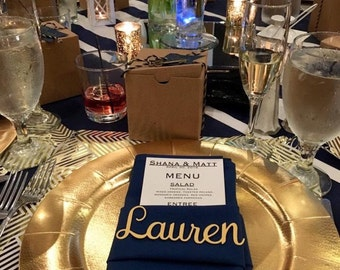 Unique Custom Gold Cardstock Place Card Name