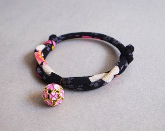 Japanese kimono dog & cat collar_Black White_S size