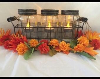 Mason Jar Tea Light Candle Holders in Black Wire Basket, Country Lantern, Shabby Chic Decor, Outdoor Garden Decoration Mason Jar Centerpiece