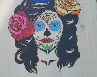 Dia De Los Muertos pyrography with acrylic paints
