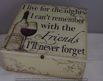 Memory Box Friendship Keepsake I Live For The Nights With Friends Hen Party sg1940