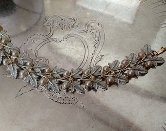 VINTAGE Judy Lee Pearl, Rhinestone and Leaf Bracelet FREE SHIPPING