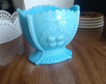 Westmoreleand Blue Milk Glass Sugar