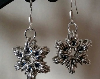 Snowflake or Star Chainmaille Earrings