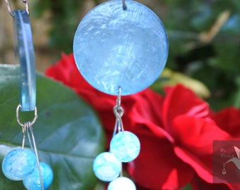 Blue earrings Pearly with turquoise glass beads