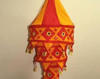 indian fabric hanging lampshade