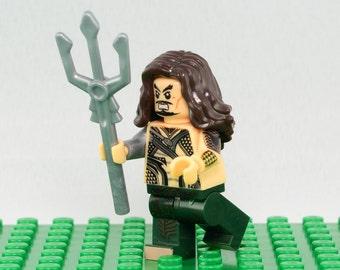 Aquaman Custom minifigure (Lego Compatible) DC Comics Superhero Arthur Curry Justice league of America JLA Rise of Justice Atlantis King 2