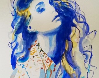 Original fashion watercolor painting,fashion art,fashion illustration, woman portrait,blue painting,original blue watercolor
