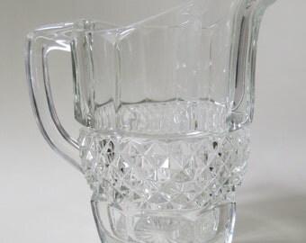 Vintage Pressed Glass Water Jug, Pitcher