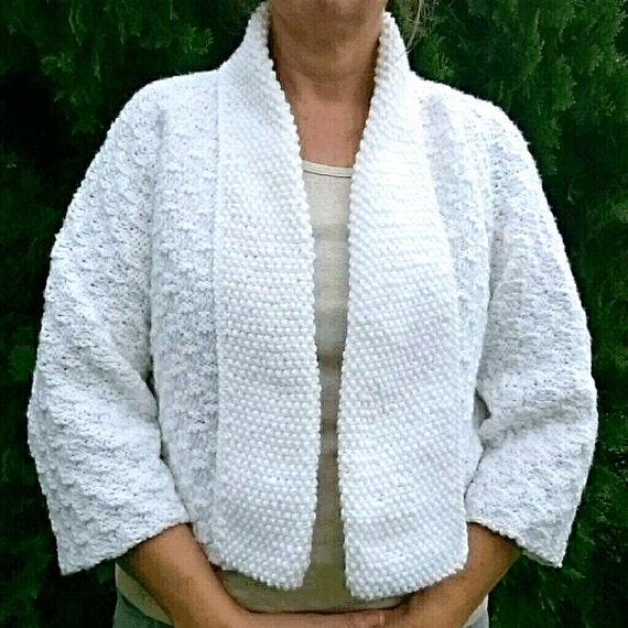 SALE Spring Summer Hand Knit Kimono Sleeve Cardigan Sweater