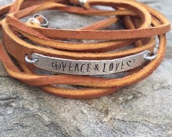 Peace & Love Leather Wrap Bracelet