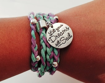 Purple and Turquoise Double Braid Wrap Bracelet