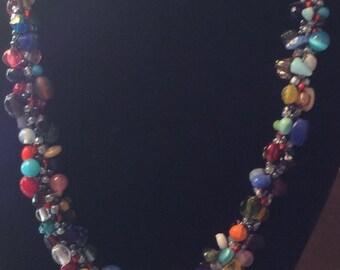 Chunky Mixed bead Kumihimo Necklace