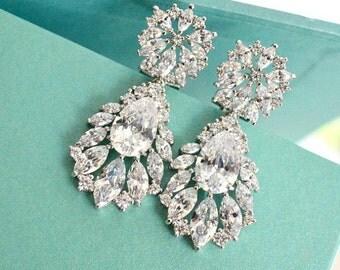 Bridal Drop Earrings. Marquise Cubic Zirconia Teardrop Bridal Earrings. Crystal Cluster Wedding Earrings. Wedding Jewelry. Bridesmaid Gift.