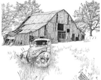 Pen & ink landscape ABANDONED