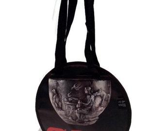 Round grey black red handbag