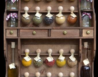 furniture wooden spice 20 bubbles, two bottles + pots tone wood