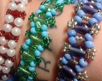 Choose your own colors!! Made to order, totally unique beaded bracelet