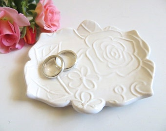 Ring Dish, Wedding Ring Tray, Tea Bag Holder, Spoon Rest, Engagement Gift, White Glaze, IN STOCK