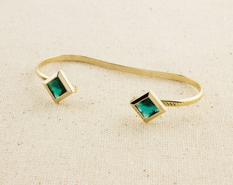 Emerald Gold Plated Cuff Bracelet
