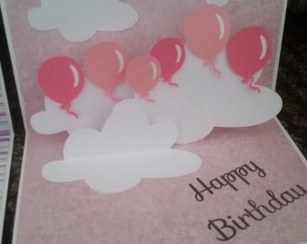 Handmade  birthday pop up card balloons