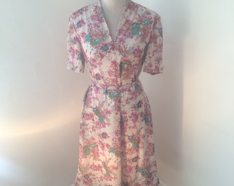 Rose Garden Vintage Tea Dress | 1960s/1970s | Pink/Green/Orange Floral | Made by Trevira