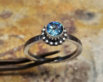 Aqua Topaz Stacking Ring Sterling Silver 925
