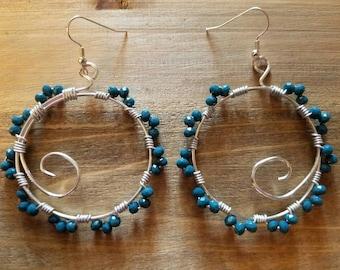 Teal swirl hoop wire crystal bead earrings