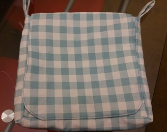 Blue check messenger bag
