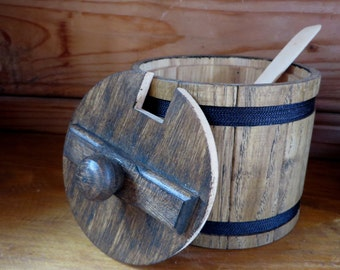 Kitchen Storage,Rustic Kitchen Decor,Wood Decor,Wooden Containers,Sugar Basin,Tea Canister,Salt, Kitchen Utensils,Supplies, Spoon,Dish, Can