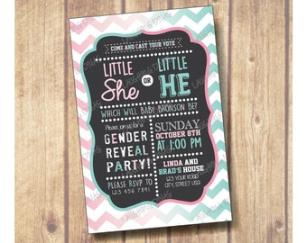 Gender Reveal chalkboard invitation; Gender Reveal Invitation; Gender Reveal Party; Little he or Little She; Blue or Pink, He or She