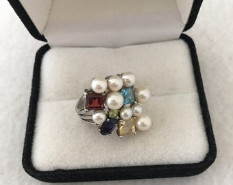 Lovely Culture Pearls Gemtones Multi Colors Sterling Silver Ring