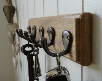 Vintage Style Key Rack / Dog Lead Rack - Solid Oak 5 Hooks - Handmade