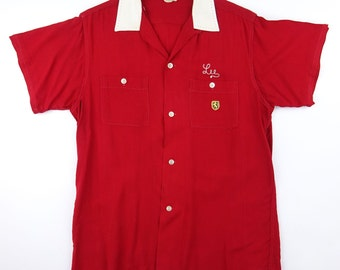 1950s NAT NAST Red Two Tone Chainstitch Rayon Bowling Shirt - Excellent / Very Good