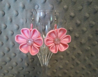 Pink Satin Flower Earrings