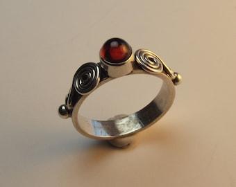 garnet, sterling silver ring,